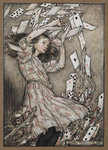 Alice and the falling pack of cards by Arthur Rackham - print