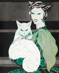 Green-eyed cat by Louis Wain - print