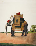 An elephant bearing a howdah by Marianne North - print