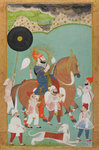 Maharana Bhim Singh of Mewar out hunting by Sahib Ram - print
