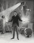 Nikola Tesla - The New Wizard of the West by JJ Grandville - print