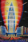 The Rocket Building by Albert Robida - print