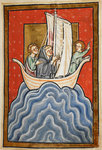 St. Cuthbert sailing to the land of the Picts by Bede - print