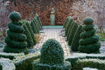 Woodpeckers, Warwickshire, Winter: Formal Garden In Frost With Knot Garden, Twisted Topiary Shapes , Brick Path, Statue And Beech Hedge Postcards, Greetings Cards, Art Prints, Canvas, Framed Pictures & Wall Art by Claude Joseph Vernet
