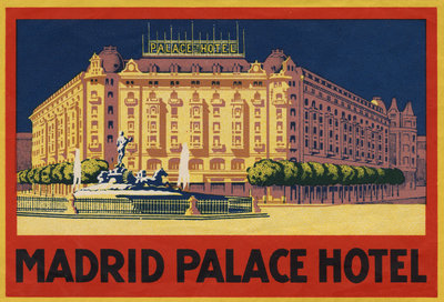 Madrid Palace Hotel Luggage Label Postcards, Greetings Cards, Art Prints, Canvas, Framed Pictures & Wall Art by Corbis