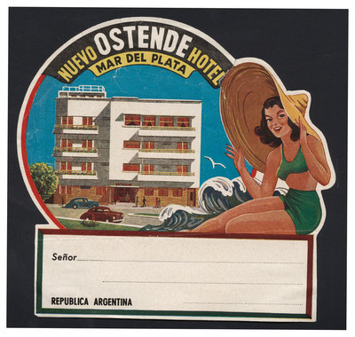 Nuevo Ostende Hotel Mar Del Plata Luggage Label Postcards, Greetings Cards, Art Prints, Canvas, Framed Pictures & Wall Art by Corbis