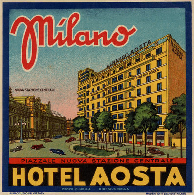 Hotel Aosta Milano Luggage Label Postcards, Greetings Cards, Art Prints, Canvas, Framed Pictures & Wall Art by Corbis