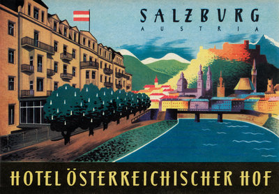 Hotel Osterreichischer Salzburg Luggage Label Postcards, Greetings Cards, Art Prints, Canvas, Framed Pictures & Wall Art by Corbis