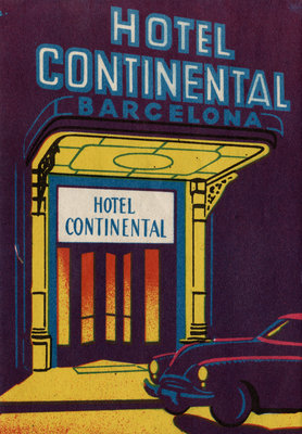 Hotel Continental Barcelona Luggage Label Postcards, Greetings Cards, Art Prints, Canvas, Framed Pictures & Wall Art by Corbis