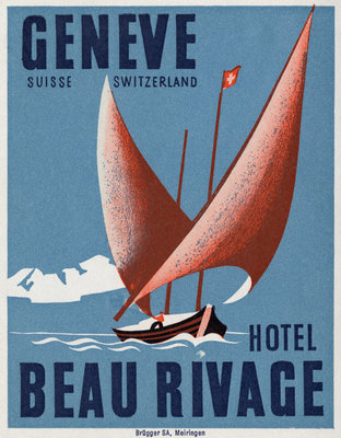 Beau Rivage Hotel Geneve Luggage Label Postcards, Greetings Cards, Art Prints, Canvas, Framed Pictures & Wall Art by Corbis
