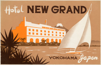 Hotel New Grand Yokohama Luggage Label Postcards, Greetings Cards, Art Prints, Canvas, Framed Pictures & Wall Art by Corbis