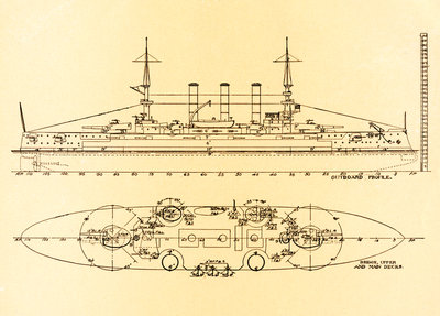 Birds-Eye and Profile Plans of the U.S. Battleship Connecticut Wall Art & Canvas Prints by Corbis
