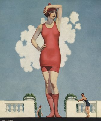 Illustration of Woman in Swimsuit by Coles Phillips Wall Art & Canvas Prints by Coles Phillips