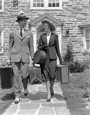 1930s 1940s Couple Leaving Home Carrying Luggage Postcards, Greetings Cards, Art Prints, Canvas, Framed Pictures & Wall Art by Corbis
