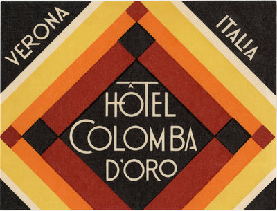 Hotel Colomba D'Oro Verona Italy Luggage Label Postcards, Greetings Cards, Art Prints, Canvas, Framed Pictures & Wall Art by Corbis
