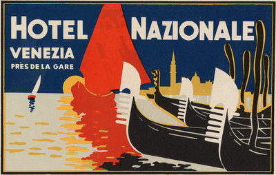 Hotel Nazionale Venezia Luggage Label Postcards, Greetings Cards, Art Prints, Canvas, Framed Pictures & Wall Art by Corbis