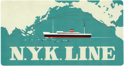 N.Y.K. Line Luggage Label Postcards, Greetings Cards, Art Prints, Canvas, Framed Pictures & Wall Art by Corbis
