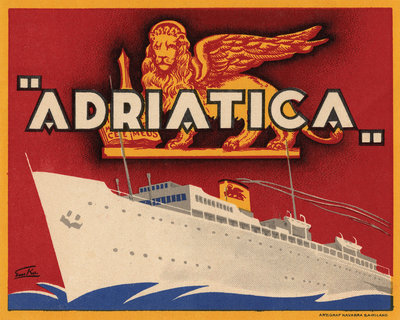 Adriatica Luggage Label Postcards, Greetings Cards, Art Prints, Canvas, Framed Pictures & Wall Art by Corbis