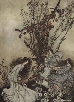 Fairies Never Say, 'We Feel Happy'; What They Say Is, 'We Feel Dancey' Wall Art & Canvas Prints by Arthur Rackham