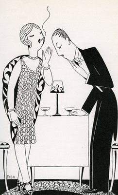 Illustration of Couple Smoking After Dinner by Anne Harriet Fish Wall Art & Canvas Prints by Anne Harriet Fish