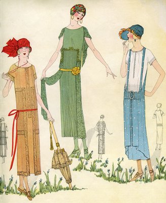 Illustration of Women in 1920s Fashion Wall Art & Canvas Prints by Anonymous