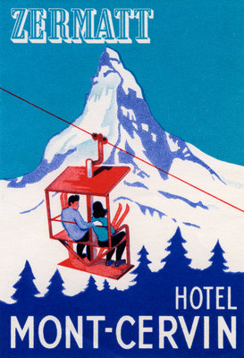 Zermatt Hotel Mont-Cervin Luggage Label Postcards, Greetings Cards, Art Prints, Canvas, Framed Pictures & Wall Art by Corbis