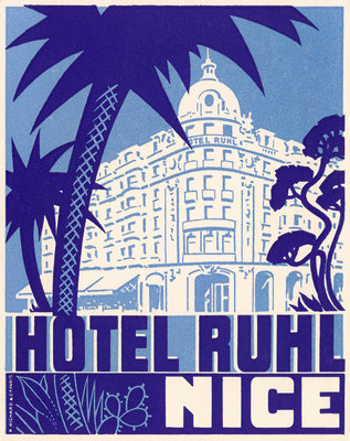 Hotel Ruhl Nice Luggage label Postcards, Greetings Cards, Art Prints, Canvas, Framed Pictures & Wall Art by Corbis