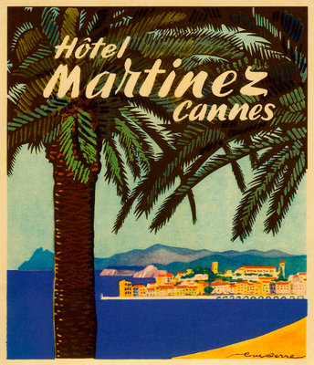 Hotel Martinez Cannes Luggage label Postcards, Greetings Cards, Art Prints, Canvas, Framed Pictures & Wall Art by Corbis