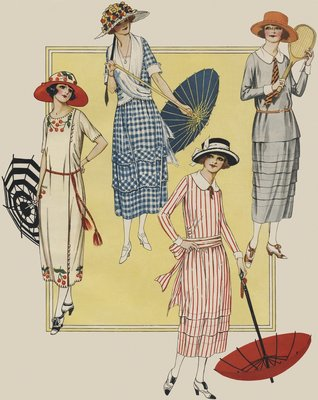 Women with parasols and tennis racket Wall Art & Canvas Prints by Anonymous