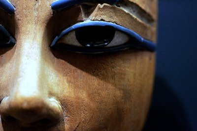 Detail of eyes in Egyptian wooden coffin Wall Art & Canvas Prints by Corbis