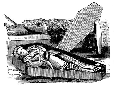 Daniel Boone trying out coffin for size Wall Art & Canvas Prints by Corbis