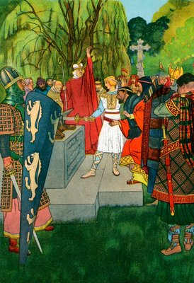 King Arthur pulling the sword from the stone Postcards, Greetings Cards, Art Prints, Canvas, Framed Pictures & Wall Art by Corbis