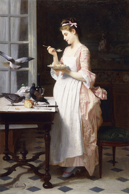 Feeding the Pigeons Wall Art & Canvas Prints by Joseph Caraud