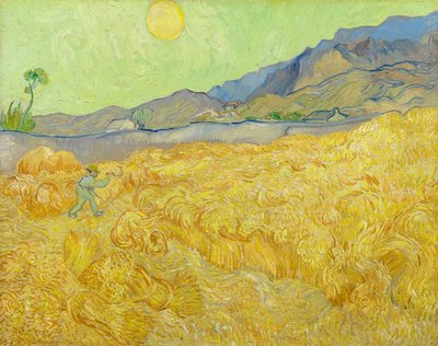 Wheat Fields with Reaper, Auvers Wall Art & Canvas Prints by Vincent Van Gogh
