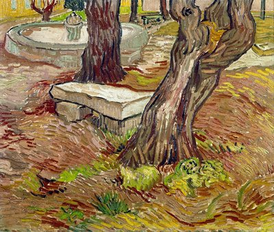 The Bench at Saint-Remy Postcards, Greetings Cards, Art Prints, Canvas, Framed Pictures & Wall Art by Vincent Van Gogh