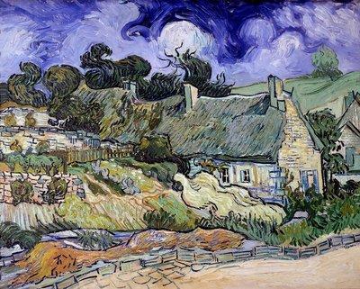 Thatched Cottages at Cordeville, Auvers-sur-Oise Postcards, Greetings Cards, Art Prints, Canvas, Framed Pictures & Wall Art by Vincent Van Gogh