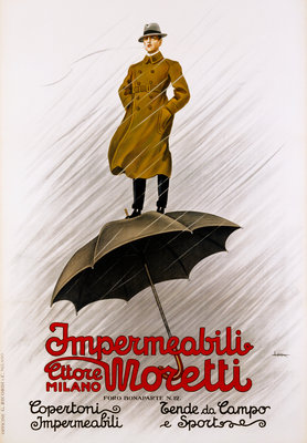 Impermeabili Moretti Umbrella Poster Postcards, Greetings Cards, Art Prints, Canvas, Framed Pictures & Wall Art by Leopoldo Metlicovitz