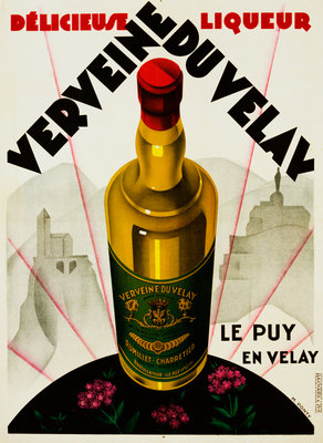 Verveine Duvelay Liqueur Advertisement Poster Postcards, Greetings Cards, Art Prints, Canvas, Framed Pictures & Wall Art by Max Ponty