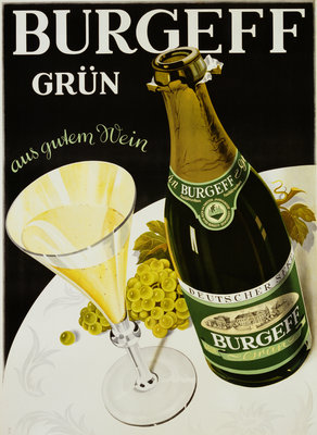 Burgeff Grun Champagne Advertisement Poster Wall Art & Canvas Prints by Corbis