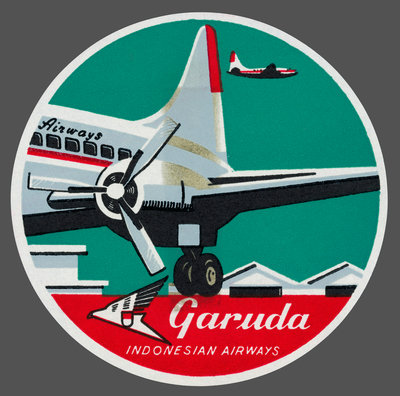 Garuda Indonesian Airways Luggage Label Postcards, Greetings Cards, Art Prints, Canvas, Framed Pictures & Wall Art by Corbis