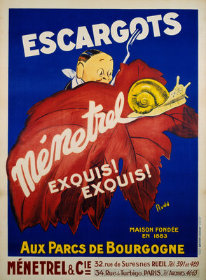 Escargots Menetrel Poster Postcards, Greetings Cards, Art Prints, Canvas, Framed Pictures & Wall Art by Rudd