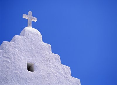 Old Church in Mikonos Wall Art & Canvas Prints by David Ball