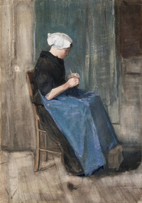 Young Scheveningen Woman, Knitting: Facing Right Wall Art & Canvas Prints by Vincent Van Gogh