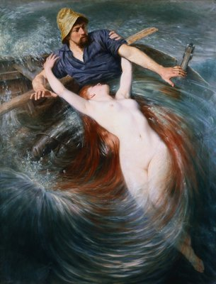 The Fisherman and the Siren Postcards, Greetings Cards, Art Prints, Canvas, Framed Pictures, T-shirts & Wall Art by Knut Ekvall