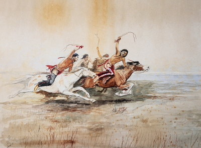 <Indian Horse Race No. 4> by Charles Marion Russell Wall Art & Canvas Prints by Charles Marion Russell