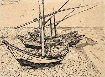 Fishing Boats on the Beach at Saintes-Maries-de-la-Mer Wall Art & Canvas Prints by Vincent Van Gogh