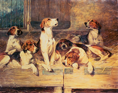 Painting of Foxhounds in a Kennel Postcards, Greetings Cards, Art Prints, Canvas, Framed Pictures, T-shirts & Wall Art by John Emms