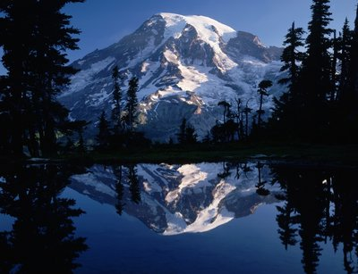 Mount Rainier and Blue Sky Perfectly Reflected Wall Art & Canvas Prints by Pat O'Hara