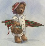 Illustration of a Teddy Bear with a Picnic Basket Postcards, Greetings Cards, Art Prints, Canvas, Framed Pictures, T-shirts & Wall Art by Cecil Charles Windsor Aldin