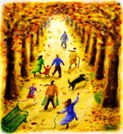 Autumn Stroll Postcards, Greetings Cards, Art Prints, Canvas, Framed Pictures & Wall Art by James Sant